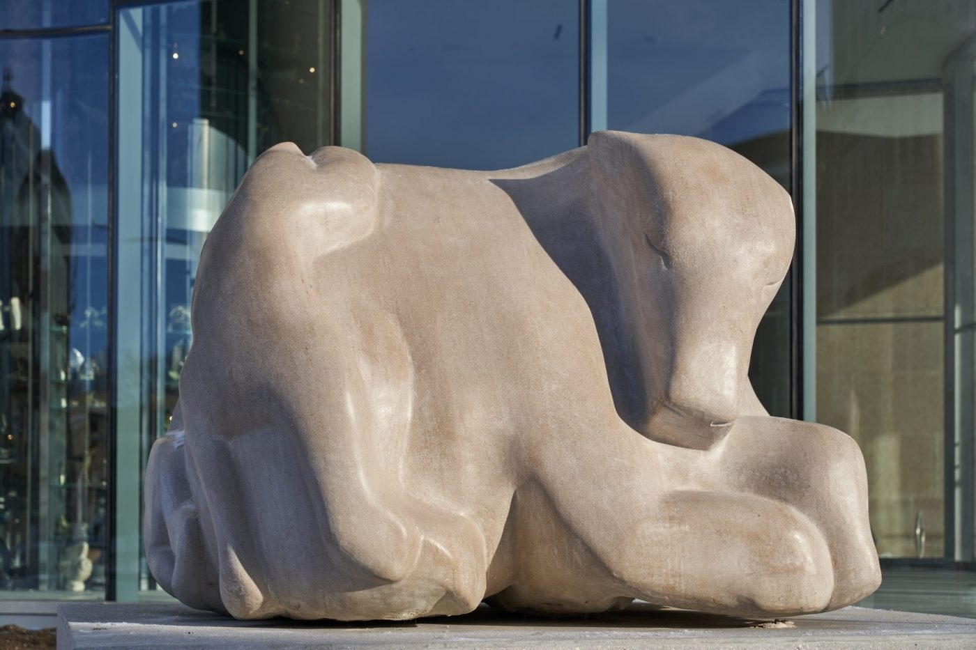 Abraham Anghik Ruben. Playtime 2020. Indianalimestone. Collection of the WAG.-Commissioned by-Tannis M. Richardson CM-LLD