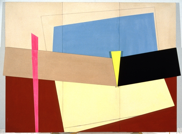 Elinor Elizabeth [Betty] Dimock.ˇThe Thin Edge of the Wedge, 1981.ˇacrylic on canvas, wood,ˇ173 x 229 cm.ˇCollection of the Winnipeg Art Gallery;ˇGift of the artist, G-96-15.