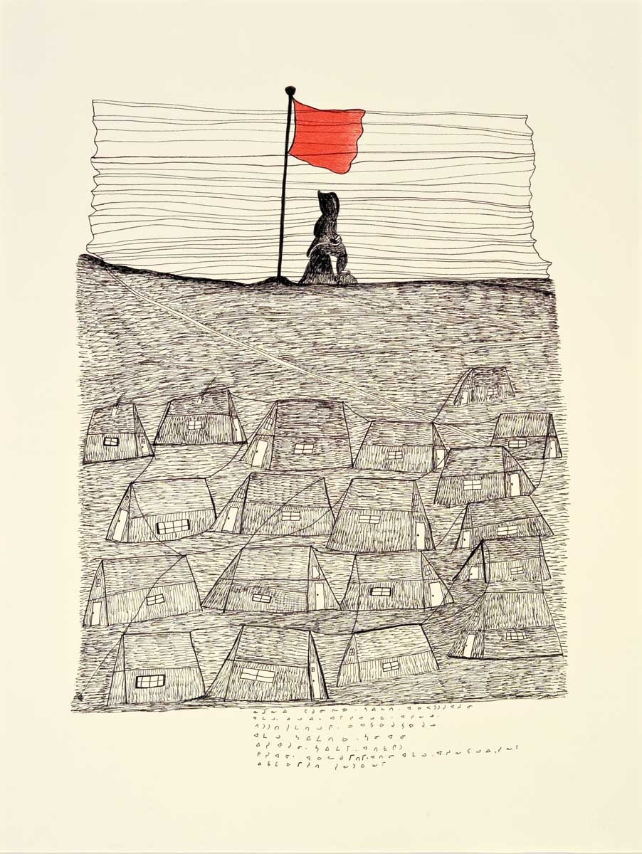 Napachie Pootoogook. Inuit (Kinngait), 1938-2002. Namonai's Vision of the Future, 1995-1996. black felt-tip pen, coloured pencil on paper. Collection of the WAG. Gift of West Baffin
