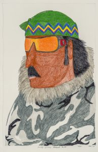 Ningiukulu Teevee. Inuit (Kinngait), b. 1963. Asivaqti Palirniq (Weathered Hunter), 2016. graphite, coloured pencil, ink on paper. Collection of the WAG.