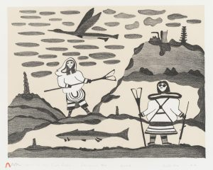 Pudlo Pudlat. Inuit (Kinngait), 1916-1992. Women At the Fish Lakes, 1977. lithograph on paper, 4175. Government of Nunavut Fine Art Collection. On long-term loan to the Winnipeg Art Gallery, 984.13