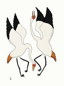 Quvianaqtuk Pudlat. Dancing Cranes, Stonecut (20-02). 2020 Cape Dorset Annual Print Collection